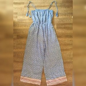 Blue Pocketed Tassel Tie Jumpsuit